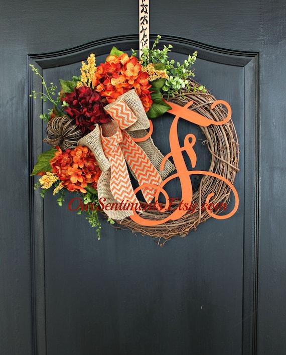 Diy Monogram Fall Wreath: Fall Grapevine Wreath Monogram Wreaths For Door By