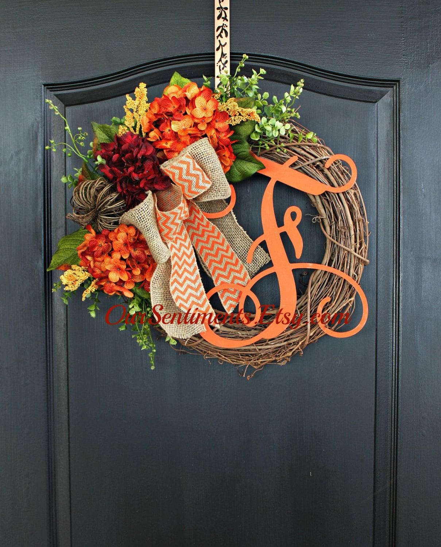 Diy Fall Door Decorations: Fall Grapevine Wreath Monogram Wreaths For Door By