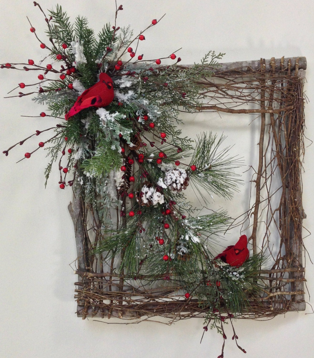 Square Twig Wreath Cardinal Wreath Winter Wreath Square