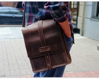 Cognac Leather Vertical Messenger Bag Men 15-inch Computer