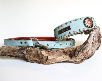 Leather Dog Collar // Personalized Dog Collar // Custom Dog Collar // Aqua Blue, Name Plate Sunburts and Shearling