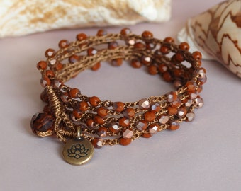 Crochet Wrap Bracelet, Brown Beaded Crochet Wrap, Crochet Necklace,Crochet Anklet, Layered Boho Crochet Jewelry, Crocheted Jewelry