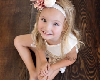 Mauve Ivory Feather Headband, Vintage Headband, Girl Headbands, Flower Girl Headband, Wedding Headbands, Couture Headbands, Hair Accessories