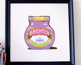 Brighton & Hove Marmite? - signed 30 x30cm giclée art print inspired by the yeasty spread!