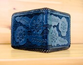 Vtg 1970s Black Tooled Leather Wallet // Retro Leather Floral Patterned Wallet // Western Style Billfold // Excellent Vintage Condition