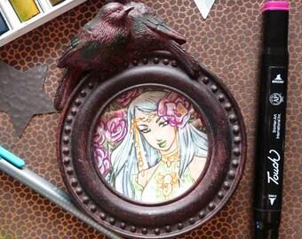 Frame with original illustration in watercolor - Flower Elf
