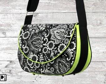 Handbag, shoulder bag, laminated cotton, neon bag