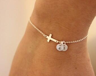 Sideways cross initial bracelet, tiny initial bracelet, personalize initial bracelet, baptism gift, tiny cross bracelet, sterling silver .