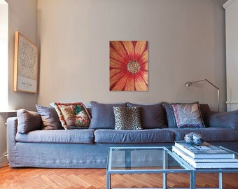 Flower Painting - Impasto Flower Painting - Red Daisy Painting - Landscape Painting - Modern Art - Home Decor