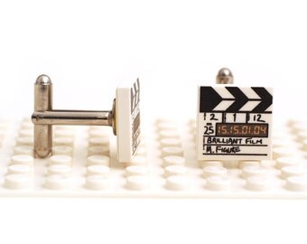 It's 'The LEGO movie'. Film slate. Clapperboard Cufflinks made with LEGO(R) bricks. Brilliant film, M Figure. Cuff links Wedding gift