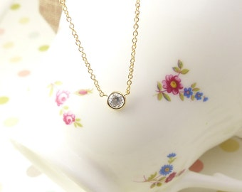 Floating Diamond Necklace, Dainty Necklace, simple Necklace,pendant Necklace,birthstone necklace,Gift for her, bridesmaid gift,wedding