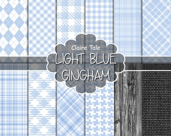 Light blue gingham digital paper, Light blue background, Light blue tartan, Light blue rhombus paper, Light blue baby background printable