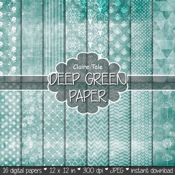 "Shabby chic digital paper: ""GREEN SHABBY CHIC"" with deep green damask, crosshatch, flowers, lace, polka dots, stripes, hearts, gingham"