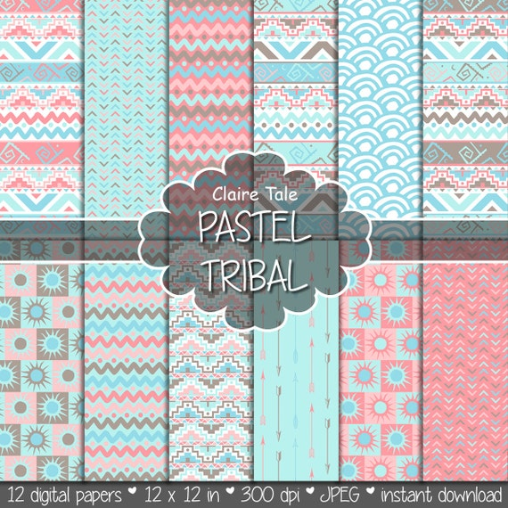 "Tribal digital paper: ""PASTEL TRIBAL"" with tribal patterns and tribal background, arrows, feathers, chevron in pastel blue, pink, brown"