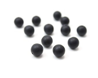 Matte Black Crystal Balls 10mm 12pcs