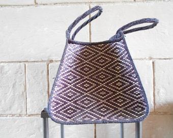 SALE Huge straw bag or basket, geometric ethnic boho chic decor, storage.