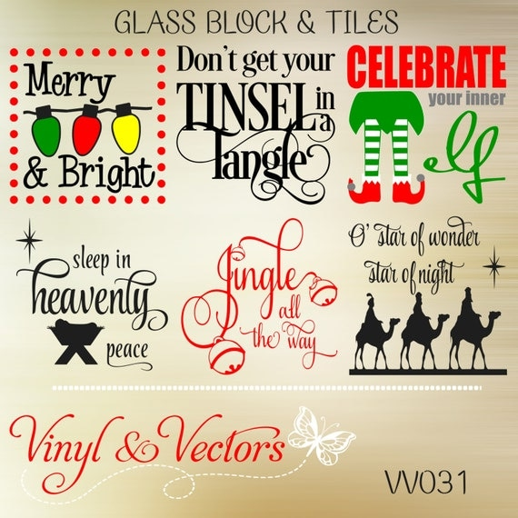 Christmas Glass Block Tile Svg Vector Cutting By
