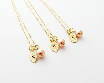 Initial Leaf Necklace Gold - with Rose Swarovski Pearl and Leaf Charm