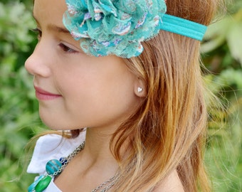 Teal Paisley Floral Chiffon Lace Flower Headband - Gift or Photo Prop - Newborn Baby Infant Toddler Girl Adult Birthday Party Favor
