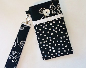 Large Padded Cell Phone IPhone Gadget Case Black and White Detachable Strap