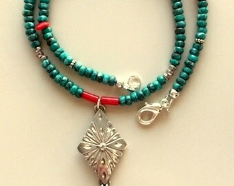 Turquoise and Coral Necklace with Vintage Sterling Silver Shield and Feathers