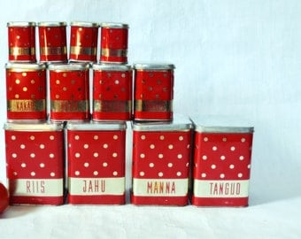 Dotted Polka dot Red tin canisters Soviet Vintage USSR Rustic Set of 12 tin box Kitchen decor Russian design organizer Unique Gift