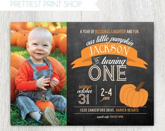 Printable Our Little Pumpkin photo invitation - Fall Autumn birthday party - Chalkboard - First Birthday - Birthday party - Customizable