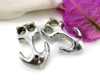 6 pc Silver Anchor Clasp, Leather Bracelet Findings, Chrome Plated Anchor Bracelet Clasp, Clasp Findings, Nautical Bracelet