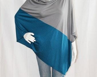 Colorblock  Poncho/ Nursing Poncho / Nursing Shawl / Breastfeeding Cover / Maternity Top / One shoulder Top / Boho Poncho/ New Mom Gift