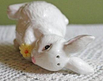 Salt or Pepper Shaker. White Porcelain Bunny Figurine as Salt or Pepper Shaker. Funky Table Ware.