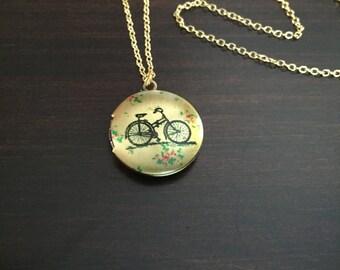 gold locket necklace, bike, bicycle, bike necklace, bicycle necklace, gold locket, locket, locket necklace, gold necklace, necklace