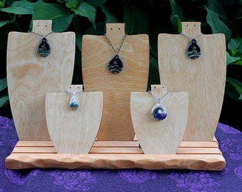 Wooden Necklace Form Display Set