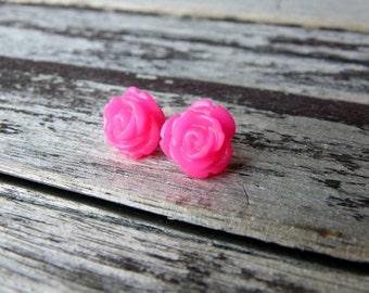 Hot Pink Rose Earrings, Rose stud earrings, flower stud earrings, flower earrings, Bridesmaid earrings, Bridal Flower studs, floral earrings