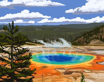 Yellowstone National Park - Grand Prismatic Spring (Art Prints available in multiple sizes)