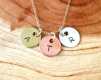 Initial Necklace, Three Initials Necklace, Children's Initials Necklace