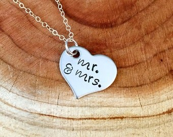 Mr. And Mrs. Necklace, Wedding Necklace, Just Married Necklace