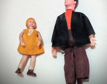 1970's Caco dollhouse dolls set of two