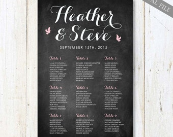 Custom Wedding Seating Light pastel pink - Chalkboard Table Assignments Seating chart - DIGITAL file!