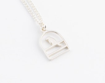 Silver birdcage necklace | Tiny sterling silver necklace, Simple charm necklace, Dainty jewelry, Pendant necklace