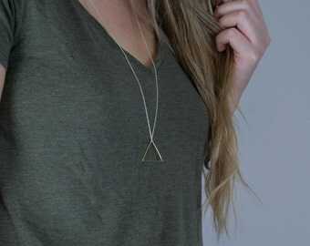 Mixed metal geometric necklace | Triangle pendant on long silver chain, Modern jewelry