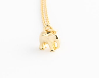 Tiny Elephant Necklace on Gold Chain | Good luck charm necklace, Simple jewelry