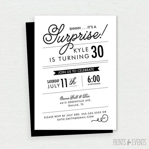 Black and white birthday invitation 30th birthday adult birthday il570xn filmwisefo