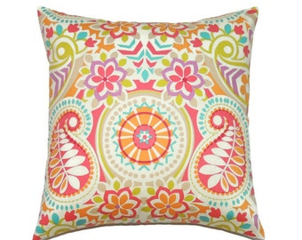 Paisley Pillow Cover, Decorative Pillows, 20x20 Pillow Cover, Sofa Couch Orange Pillow, Tropical Cushion Cover, Waverly Paisley Prism Sorbet