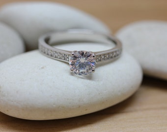 1ct White Sapphire Solitaire ring available in white gold or sterling silver - engagement ring - wedding ring - silver ring