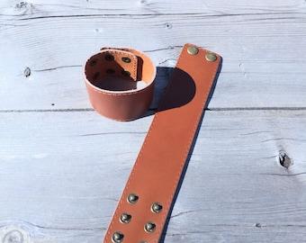 tan leather cuff, genuine leather cuff, cuff for scarf