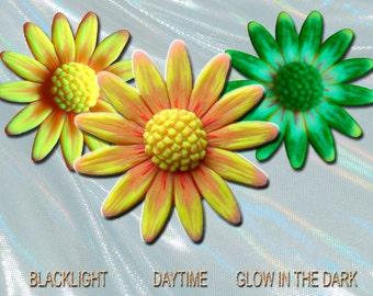 Sunflower Yellow Orange Daisy Pendant EyeGloArts Glow in the dark jewelry and neon blacklight UV reactive polymer clay flowers