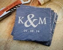 4 Custom Engraved Slate Coaster Set, Monogrammed Coaster Set, Personalized Coaster, Custom Coaster: Wedding Shower, Housewarming Gift