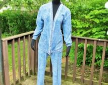 Vintage Womens Sweat Suit, Blue Womens Track Suit, Acid Wash Denim Colored Running Suit, Womens Casual Pants Suit, Womens Size Medium