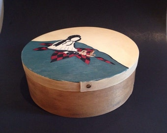 Vintage Cheese Box Hand Painted