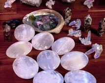 Selenite Palm Stone   Healing Crystal   Wicca   Reiki   Crystal   Orb   Palm-Sized   Sphere   Minerals
